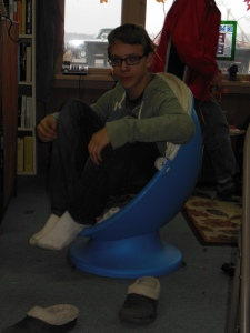 Phil Lackey enjoys one of our egg chairs at the Fall Fun Fest :)